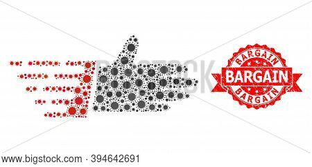 Vector Collage Hand Palm Of Virus, And Bargain Unclean Ribbon Seal Print. Virus Items Inside Hand Pa