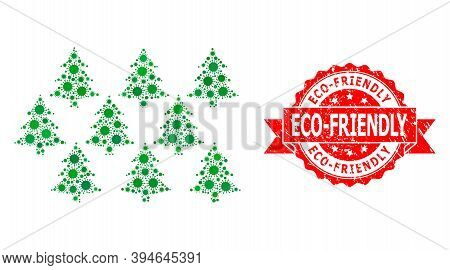 Vector Mosaic Fir Forest Of Virus, And Eco-friendly Textured Ribbon Seal. Virus Elements Inside Fir