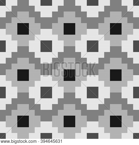 Inca Crosses Seamless Pattern. Ethnic Ornament. Folk Background. Geometric Wallpaper. Grid Image. Tr