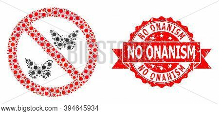 Vector Collage Forbidden Butterflies Of Virus, And No Onanism Scratched Ribbon Stamp Seal. Virus Cel