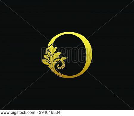 Golden Letter O Logo Icon . Initial Letter O Design Vector Luxury Gold Color. Print Monogram Initial
