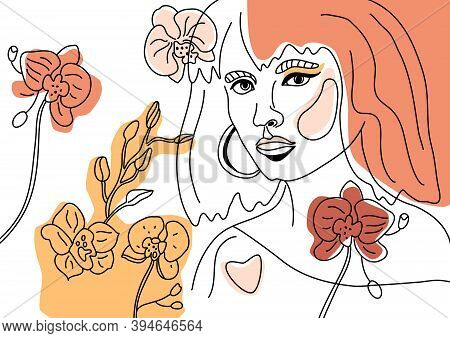 Abstact Woman Face Minimal Line Style Ol-line Drawing. Contemporary Color Collage Of Geometric Shape