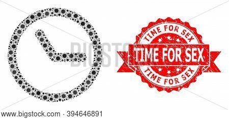 Vector Collage Clock Of Flu Virus, And Time For Sex Grunge Ribbon Stamp Seal. Virus Cells Inside Clo
