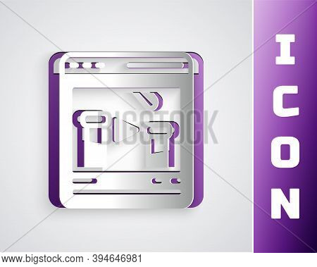 Paper Cut Chemical Experiment Online Icon Isolated On Grey Background. Scientific Experiment In The