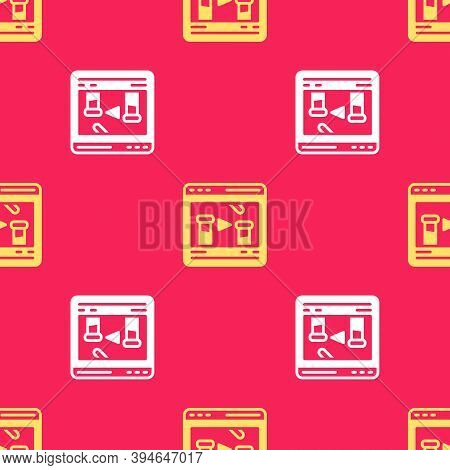 Yellow Chemical Experiment Online Icon Isolated Seamless Pattern On Red Background. Scientific Exper