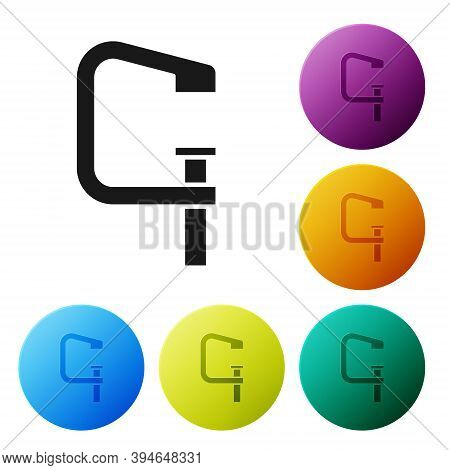 Black Clamp And Screw Tool Icon Isolated On White Background. Locksmith Tool. Set Icons In Color Cir