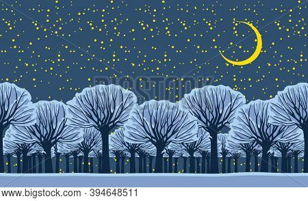 Horizontal Seamless Pattern With Snowy Trees. Repeatable Winter Landscape At Night With Snow-covered