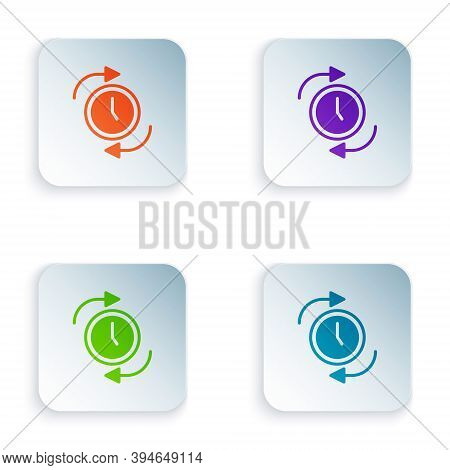 Color Clock With Arrow Icon Isolated On White Background. Time Symbol. Clockwise Rotation Icon Arrow