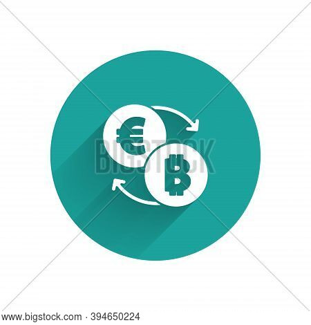 White Cryptocurrency Exchange Icon Isolated With Long Shadow. Bitcoin To Euro Exchange Icon. Cryptoc