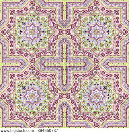 Flat Portugese Azulejo Tile Seamless Ornament. Ethnic Structure Vector Motif. Wrap Print Design. Cla