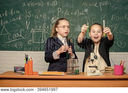 Biology Lab. Breathing Life Into Chemistry. Science Experiments In Laboratory. Little Girls Genius I