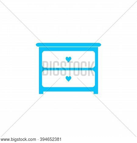 Dresser With Drawers Icon Flat. Blue Pictogram On White Background. Vector Illustration Symbol