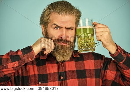 Enjoy Your Favorite Brew. Mature Bearded Man Hold Beer Glass. Mug Of Alcohol Beverage. Confident Bar