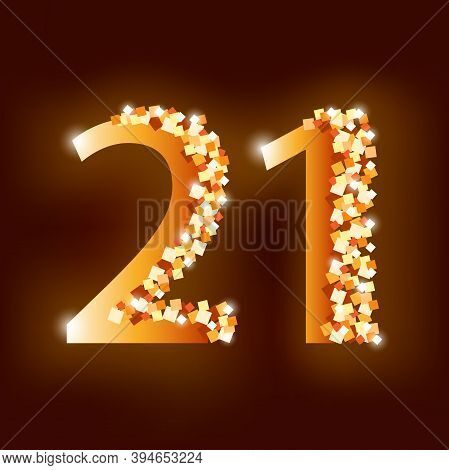 21 Years Celebration Logotype Golden Color. Number Birthday Or New Year  On Dark Brown Background. V