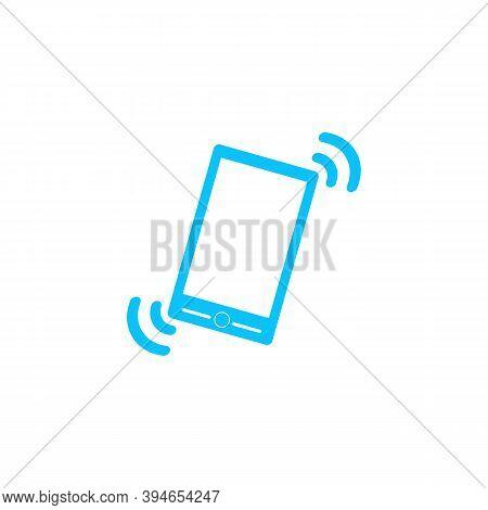Smart Phone In Silent Mode Icon Flat. Blue Pictogram On White Background. Vector Illustration Symbol