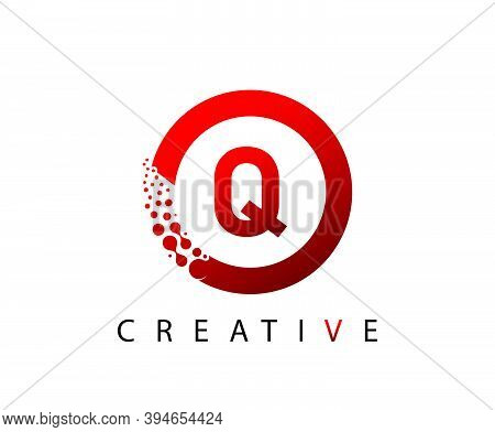 Circle Q Letter Digital Network , Abstract Q Dotted Logo Design.