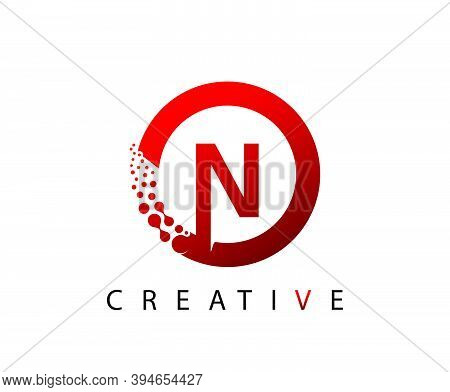 Circle N Letter Digital Network , Abstract N Dotted Logo Design.