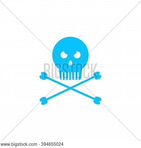 Jolly Roger Icon Flat. Blue Pictogram On White Background. Vector Illustration Symbol