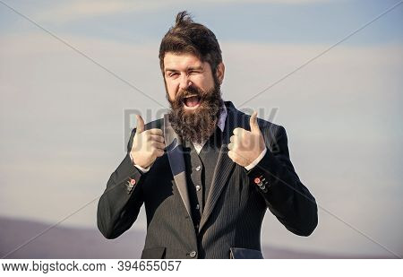 Thumbs Up Gesture. Man Bearded Optimistic Businessman Wear Formal Suit Sky Background. Success And L
