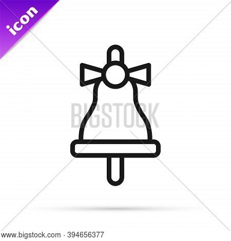 Black Line Merry Christmas Ringing Bell Icon Isolated On White Background. Alarm Symbol, Service Bel