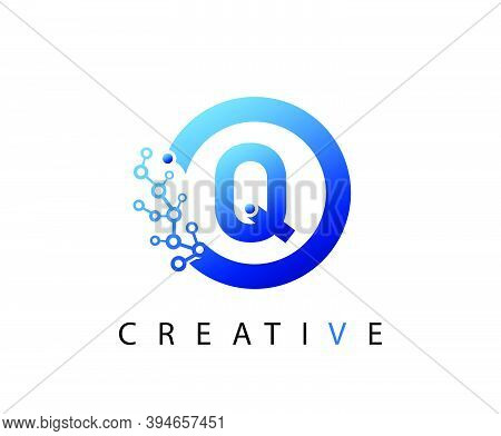 Circle Q Letter Digital Network , Abstract Blue Q Technology Logo Design.