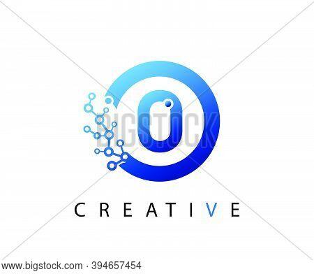 Circle O Letter Digital Network , Abstract Blue O Technology Logo Design.