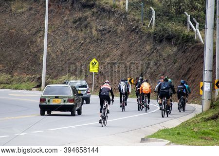 La Calera Colombia - October, 2020: Group Of Amateur Cyclists On The Road Between Bogota And La Cale