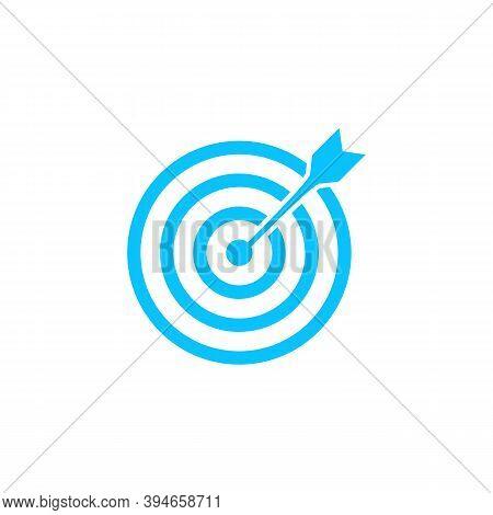 Target Bullseye Arrow Icon Flat. Blue Pictogram On White Background. Vector Illustration Symbol