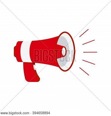 Megaphone Loudspeaker Icon Isolated On White Background. Red Loud Speaker Sign For Announce, Hot New