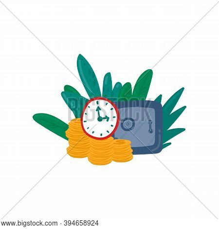 Illustration Of The Safe. Vector Image With Gold Coins And A Closed Safe. In The Circle Of Jungle An