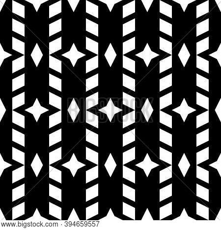 Rhombuses, Stars Ornament. Seamless Pattern. Diamonds, Crosses Backdrop. Lozenges, Signs Wallpaper.