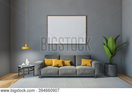Grey Hall Mockup Blank Canvas With Grey Sofa Against White Wall With Plant. Minimalist Grey Hall Wit