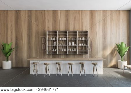 Wooden Cafe Interior With Wooden Bar Chairs, Wooden Wall With Bar Counter. Illustration Of Wooden Ca
