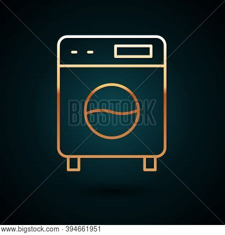 Gold Line Washer Icon Isolated On Dark Blue Background. Washing Machine Icon. Clothes Washer - Laund