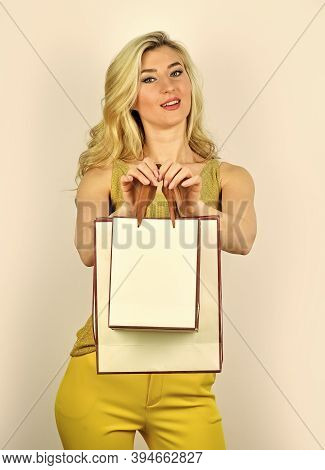 Closeout And Bargain Sale In Shop. Cyber Monday Concept. Sexy Blond Woman Go Shopping. Best Give-awa
