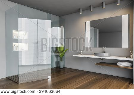 Shower Cabin In Grey Bathroom With Sink And Towels, And Mirror. Dark Open Space Bathroom With Plant,