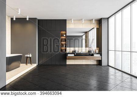 Stylish Dark Grey Bathroom, Big Black Bathtub And Two Sinks With Big Mirror And Large Windows. Illus
