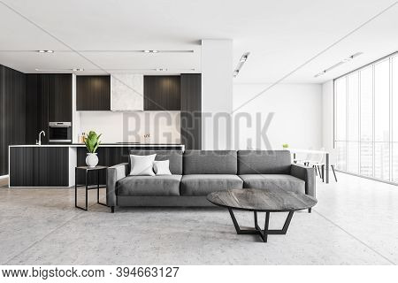Grey Living Room Apartment With Black Kitchen And Grey Sofa, Open Space Room With New Stylish Minima