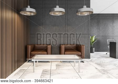 Two Brown Leather Armchairs In Reception Hall With Table On White Tiled Floor, Pendant Lamps. Grey W