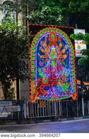 Park Street,kolkata, India -12th November 2020 : Beautiful Goddess Durga, Decoared With Lights At Pa