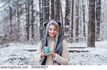 Animal Care. Winter Themed Portrait Cosy Outfit. Woman Wear Wolf Hat. Animal Rights. Wild Life Symbo