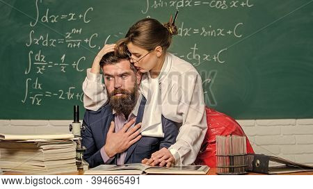 Teacher And Student Flirting. Sexual Provocation. Provoke Sexual Desire. Desirable Girl Cuddling Tea