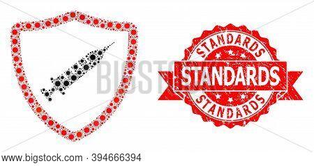 Vector Mosaic Vaccine Shield Of Corona Virus, And Standards Dirty Ribbon Stamp. Virus Cells Inside V
