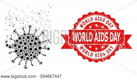 Vector Mosaic Virus Dissipation Of Flu Virus, And World Aids Day Corroded Ribbon Stamp. Virus Partic