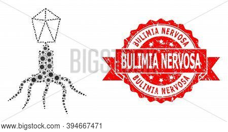 Vector Mosaic Virus Of Virus, And Bulimia Nervosa Unclean Ribbon Seal Print. Virus Elements Inside V