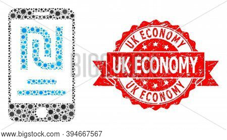 Vector Mosaic Shekel Mobile Account Of Virus, And Uk Economy Dirty Ribbon Stamp Seal. Virus Elements