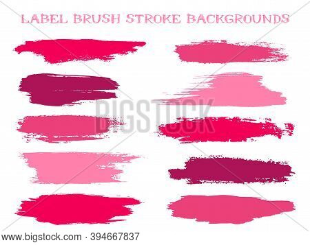 Cool Label Brush Stroke Backgrounds, Paint Or Ink Smudges Vector For Tags And Stamps Design. Painted