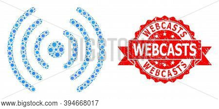 Vector Collage Wi-fi Signal Of Virus, And Webcasts Dirty Ribbon Seal Imitation. Virus Cells Inside W