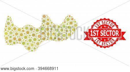 Vector Mosaic Spot Of Flu Virus, And 1st Sector Grunge Ribbon Seal Print. Virus Particles Inside Spo
