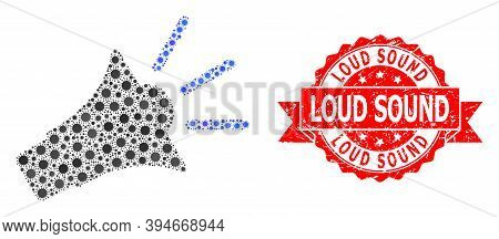 Vector Mosaic Sound Speaker Of Flu Virus, And Loud Sound Corroded Ribbon Seal Imitation. Virus Items
